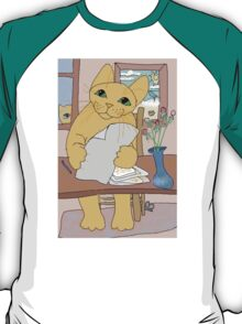 Cat And Letter T-Shirt