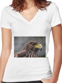 Harris Hawk Women's Fitted V-Neck T-Shirt