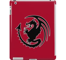 Round Black Dragon Design On Red Background iPad Case/Skin