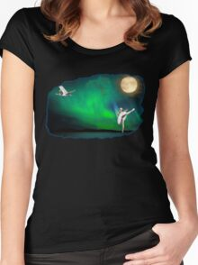 Aurora ballerina in the moon light Women's Fitted Scoop T-Shirt