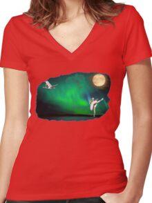 Aurora ballerina in the moon light Women's Fitted V-Neck T-Shirt