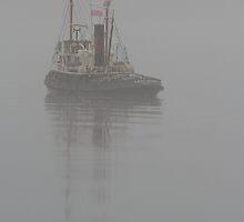Model Tug in Fog by Jonathan Cox