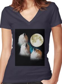 Gabe The Dog Moon Art Women's Fitted V-Neck T-Shirt
