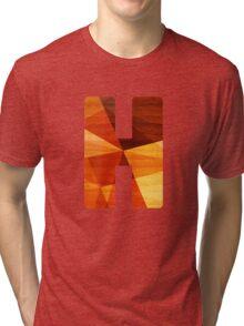 Letter H - Geometric Wood Initial Tri-blend T-Shirt