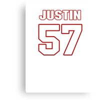 NFL Player Justin Tuggle fiftyseven 57 Canvas Print