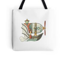 Cartoon steampunk styled flying airship with baloon and propeller Tote Bag