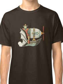Cartoon steampunk styled flying airship with baloon and propeller Classic T-Shirt
