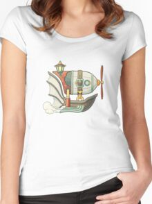 Cartoon steampunk styled flying airship with baloon and propeller Women's Fitted Scoop T-Shirt