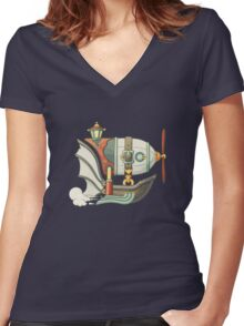 Cartoon steampunk styled flying airship with baloon and propeller Women's Fitted V-Neck T-Shirt