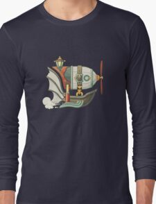 Cartoon steampunk styled flying airship with baloon and propeller Long Sleeve T-Shirt