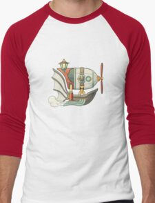 Cartoon steampunk styled flying airship with baloon and propeller Men's Baseball ¾ T-Shirt