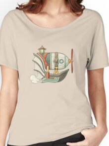 Cartoon steampunk styled flying airship with baloon and propeller Women's Relaxed Fit T-Shirt
