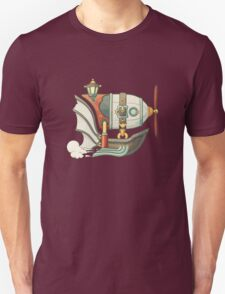 Cartoon steampunk styled flying airship with baloon and propeller T-Shirt
