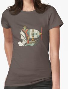 Cartoon steampunk styled flying airship with baloon and propeller Womens Fitted T-Shirt