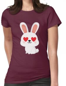 Bunny Rabbit Emoji Heart and Love Eye Womens Fitted T-Shirt