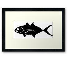 Blue Runner Fish Silhouette (Black) Framed Print