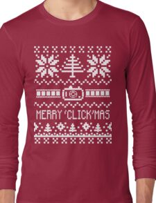 Ugly Christmas Sweater - Camera / Merry 'Click'Mas Long Sleeve T-Shirt