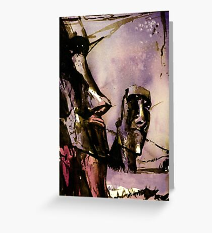 Easter Island Moai statue- watercolor painting Greeting Card