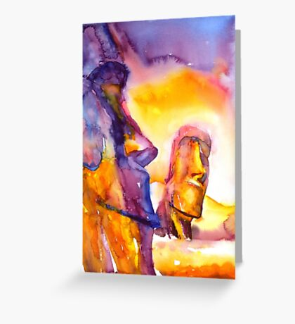 Watercolor painting of ruins of Moai statues on Easter Island- Chile Greeting Card