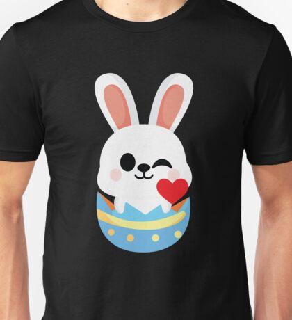 Bunny Easter Egg Emoji Flirt and Blow Kiss Unisex T-Shirt
