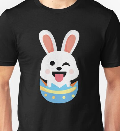 Bunny Easter Egg Emoji Wink and Tongue Out Unisex T-Shirt