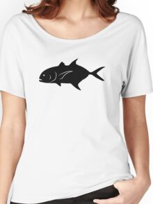 Crevalle Jack Fish Silhouette (Black) Women's Relaxed Fit T-Shirt