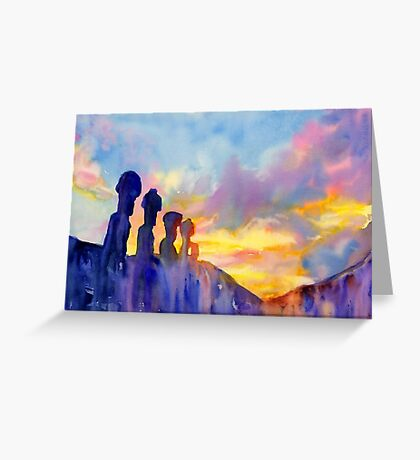Moai statue on Easter Island- watercolor painting Greeting Card