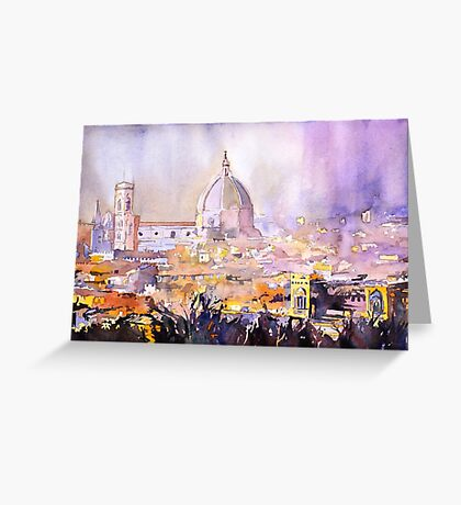 Florence, Italy cityscape- watercolor painting Greeting Card