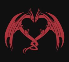Red Love Dragons On Black Background Design by LuckDragonGifts