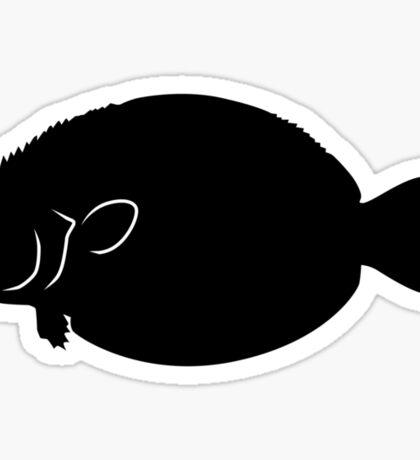 Flounder Fish Silhouette (Black) Sticker