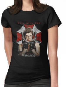 Resident Evil The Final Chapter evil will end Womens Fitted T-Shirt