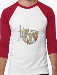 Cartoon steampunk styled flying airship with propeller and wheel Men's Baseball ¾ T-Shirt