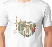 Cartoon steampunk styled flying airship with propeller and wheel Unisex T-Shirt