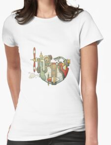 Cartoon steampunk styled flying airship with propeller and wheel T-Shirt