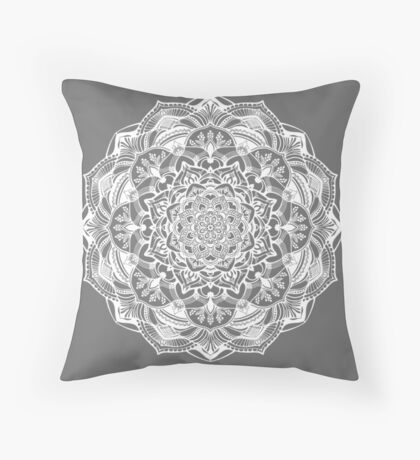 white mandala Throw Pillow