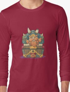 Cartoon styled dwarf sitting on the chest  Long Sleeve T-Shirt
