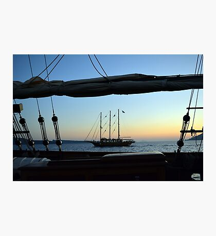 30 September 2016 Two sailing ships in the Aegean Sea at sunset in Santorni, Greece Photographic Print