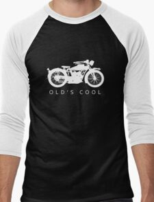 Old's Cool - Vintage Motorcycle Silhouette (White) Men's Baseball ¾ T-Shirt