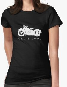 Old's Cool - Vintage Motorcycle Silhouette (White) Womens Fitted T-Shirt