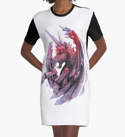 Watercolor crystallizing demonic horse Graphic T-Shirt Dress