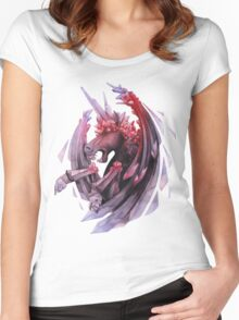 Watercolor crystallizing demonic horse Women's Fitted Scoop T-Shirt