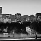 Denver Colorado Skyline in Black and White by Gregory Ballos