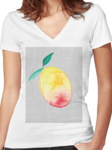 Exotic watercolor mango Women's Fitted V-Neck T-Shirt