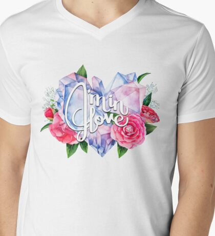 Watercolor crystal heart and camellias Mens V-Neck T-Shirt