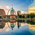 Downtown St. Louis Skyline Morning Sunrise Reflections by Gregory Ballos