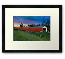 Medora Covered Bridge at Sundown Framed Print