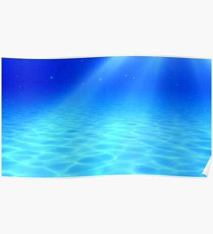 blue and clear underwater 3d rendering Poster