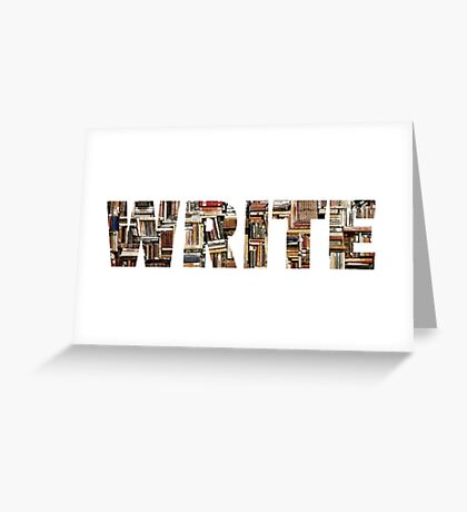 WRITE (word in books) Greeting Card