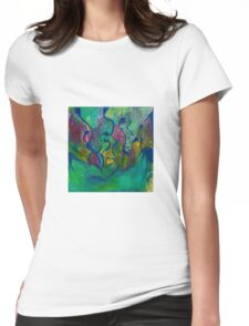 Psychedelic Vines abstract moss Womens Fitted T-Shirt