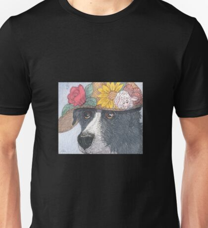 Border Collie dog wearing an Easter bonnet Unisex T-Shirt